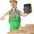 Expensive construction concept with builder and calculator — Stock Photo