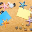 Royalty-Free Stock Photo: Blank message on sand and pebbles