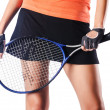 Woman playing tennis on white — Stock Photo