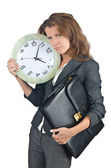 Businesswoman with clock isolated on white — Stock Photo