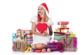 Young woman in christmas shopping concept — Foto Stock