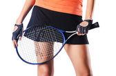 Woman playing tennis on white — Stock Photo