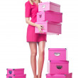 Woman with stack of giftboxes — Stock Photo