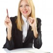 Businesswoman sitting at the desk — Stock Photo