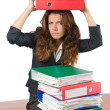 Busy woman at workplace — Stock Photo