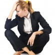 Tired businesswoman isolated on white — Stock Photo