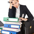 Stock Photo: Woman with lots of work
