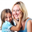 Happy mom and daughter on white — Stock Photo #14757491