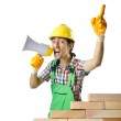 Builder with hard hat on white — Stock Photo #14759357