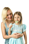 Mother with daughter isolated on white — Stock Photo