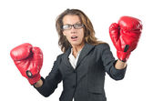 Young businesswoman in boxing concept — Stock Photo