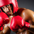 Muscular boxer in studio shooting - Stock Photo