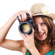 Attractive female photographer on white — Stock Photo #14769277