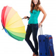 Woman going to summer vacation with suitcase — Stock Photo #14769365