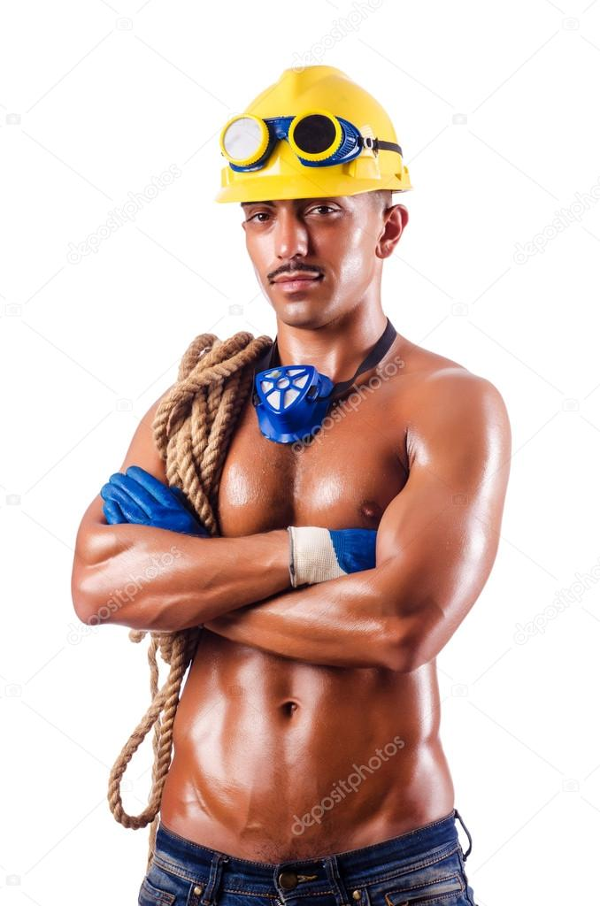 Muscular builder with tools isolated on white  Stock Photo #14767379