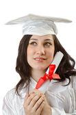 Mutlu öğrenci mezuniyet beyaz kutluyor — Stok fotoğraf