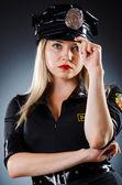 Attractive police office in dark room — Stock Photo
