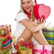 Happy woman after christmas shopping - 图库照片
