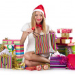 Happy woman after christmas shopping - Stock Photo