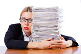 Woman businesswoman with lots of papers — Stock Photo