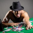 Stock Photo: Naked broke businessmin casino