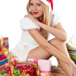 Stock Photo: Happy woman after christmas shopping