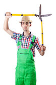 Man gardener with shears on white — Stock Photo