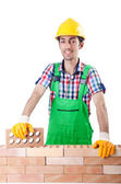Builder with hard hat on white — Stock Photo