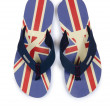 Stock Photo: Flip flops with UK britain flag on white
