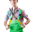 Man gardener with shears on white - Stock Photo