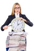 带有时钟的白忙女人 — 图库照片
