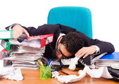 Busy stressed man in the office — Stock Photo