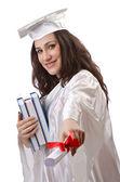 Feliz graduado sobre fondo blanco — Stok fotoğraf