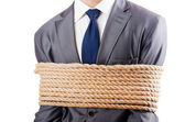 Man tied up with rope on white — Stock Photo