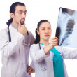 Two doctors looking at x-ray image on white — Stock Photo
