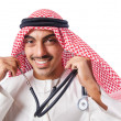 Royalty-Free Stock Photo: Arab doctor with stethoscope on white