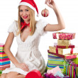 Happy woman after christmas shopping — Stock Photo