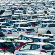 TUSCANY, ITALY - 27 June: New cars parked at distribution center — Stock Photo