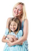Heureuse mère et fille isolé sur blanc — Photo