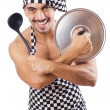 Sexy male cook isolated on the white — Stock Photo
