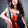Woman cellist performing with cello — Foto de Stock