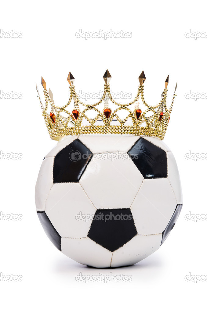 Football with crown on white  Stock Photo #18943089