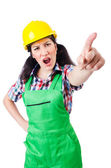 Female construction worker isolated on white — Stock Photo