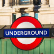 London underground symbol on street - Stock Photo