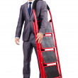 Royalty-Free Stock Photo: Businessman with the ladder isolated on white