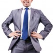 Nerd funny businessman on white - Photo