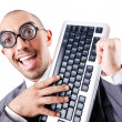Stock Photo: Nerd funny businessmon white