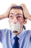 Man with closed lips in censorship concept — Stock Photo