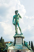 David statue at Michelangelo square in Florence Italy — Stock Photo