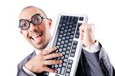 Nerd funny businessman on white — Stock Photo